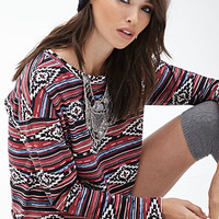 FOREVER 21 Striped Tribal Print Pullover Black/Cream