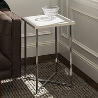 """16"""" Square Side Table - White Marble Top, Chrome Legs"""