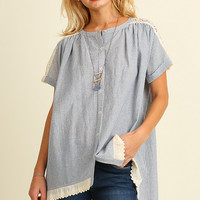 Button Up Striped Tunic