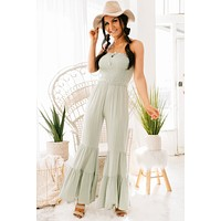 You Know How It Is Tiered Ruffle Jumpsuit (Sage)