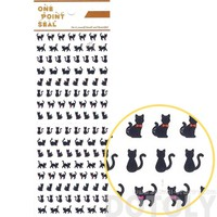 Black Kitty Cat Silhouette Animal Sticker Envelope Seal for Scrapbooking and Decorating