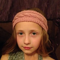 Girls knit headband, pink knit headband, cable knit headband, baby headband, ladies headband, earwarmers, headwarmer
