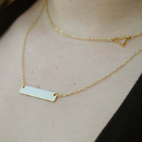 Layering Necklace Set - Delicate Gold Layer Necklaces - Layer Necklace - Rectangle Necklace - Triangle Necklace - Layered Necklace