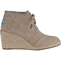 TOMS Desert Wedge Boot Natural Burlap - Jildor Shoes, Since 1949