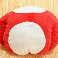 Cartoon Super Mario Mushroom Red Toad plush doll stuffed toy warm hat cosplay cap collection winter indoor 12""