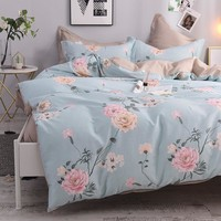 4Pcs Queen Twin size 100%Cotton Girls Kids Bedding Set Flowers Leaves print Duvet Cover Bed sheet set bedlinen Pillowcases