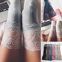 Fashion Sexy Black White Grey Women Knitting Lace Over Knee Thigh Stockings High Tights Stocking