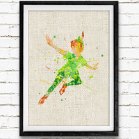 Peter Pan Disney Watercolor Art Poster Print, Baby Nursery Room Art, Kids Decor, Minimalist Home Decor Not Framed, Buy 2 Get 1 Free!