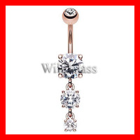 Cascade Belly Button Ring Rose Gold Plated 316L Surgical Steel Belly Button Ring Navel Jewelry Belly Piercing