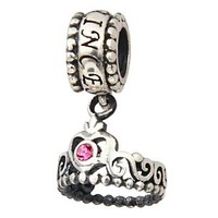 Everbling My Princess Crown Dangle with Pink Austrian Crystal October Birthstone 925 Sterling Silver Bead Fits Pandora Charm Bracelet