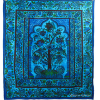 Queen Size Blue Dorm Decor Tree of Life Hippie Tapestry Bed Cover