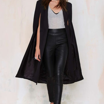 Black Long Cape Coat With Pocket
