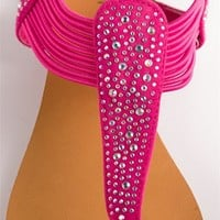 Sparkle Rhinestone Sandal with Elastic Straps - Pink from Sandals at Lucky 21 Lucky 21