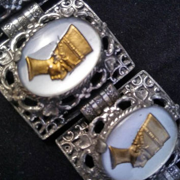 Vintage Chunky Bracelet, 1950's 1960's High End Hard To Find Rare Collectible Jewelry, Egyptian Style Accessories