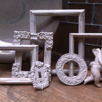 Empty Gallery Frames Wedding White Shabby Chic Vintage Frame Set Mother Goose Open Frames Gallery Wall Frames