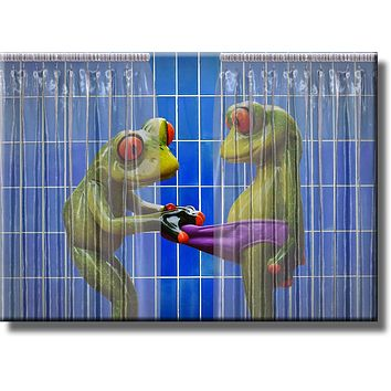 Frogs Peeking in Shower Blue Bathroom Picture on Stretched Canvas, Wall Art Décor, Ready to Hang