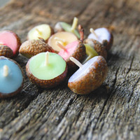 Eco-friendly Acorn Cap Candles Pastel Color Mix Floating Candle 24pcs Birthday Candles Baby Shower Decor Favors