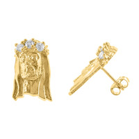 Jesus Face Yellow Gold Finish Lab Diamond Sterling Silver Earrings