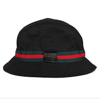 GUCCI Popular Women Men Simple Red Green Stripe Fisherman Hat Basin Hat Folding Sun Hat Street Dance Skateboard Hat Cap Black