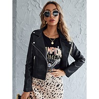 Lapel Neck Zip-up PU Biker Jacket