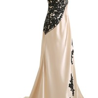 Sunvary Champagne and Black One Shoulder Satin and Lace Prom Evening Dress for Mother of the Groom Long Bridesmaid Gowns Girls Pageant Formal US Size 6- Champagne