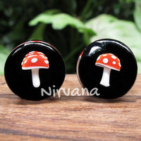 """Mushroom Plugs Pyrex Glass Red with White Spots  00g 7/16"""" 1/2"""" 9/16"""" 5/8"""" 3/4"""" 1"""" 5 mm 6 mm 8 mm 9.5 mm 10 mm 12 mm - 25.4 mm"""