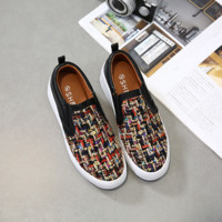Women Casual Fashion Multicolor Weave Loafer Flats Shoes Lazy Person Plate Shoes