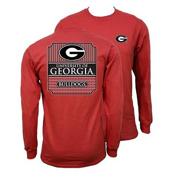 Southern Couture University of Georgia Bulldogs Classic Preppy Long Sleeve Girlie Bright T Shirt