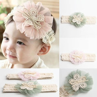 Cute Baby Girl Headband Lace Flower Hairband = 1695590340