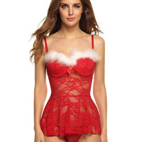 Hot Sexy Christmas Lingerie Women Straps Backless White Fur Red Lace Lingerie With G-String Fantasias Sexy Erotic Costumes 9AM