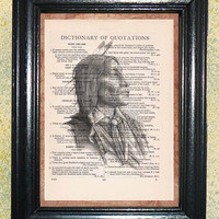Old Southwst Indian Warrior Art Print - Vintage Dictionary Page Art Print, Upcycled Book Page Art, Mixed Media Collage, Wall Art