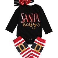Christmas Baby Boys Girls Romper Jumpsuit + Pants Clothes Outfits 3 Sets Xmas baby rompers set newborn baby clothes