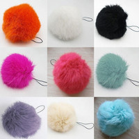 1ball Hot! Soft Rabbit Fur Ball Key Chains Ring Mobile Phone Tag Vogue String = 1932256964