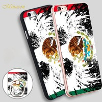 Minason Mexican Flag Eagle Mobile Phone Shell Soft TPU Silicone Case Cover for iPhone X 8 5 SE 5S 6 6S 7 Plus
