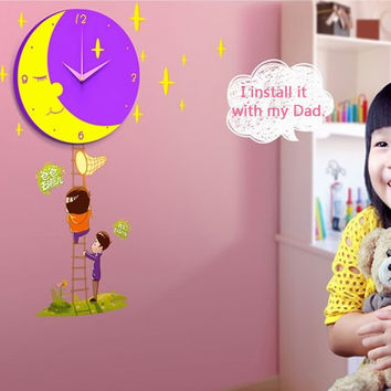 Luna Papa Wall Clock with Removable Wall Mural