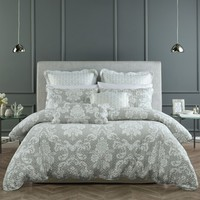 Alexandria Grey Lightly Quilted Quilt Cover Set OR Accessories by Bianca Elegance