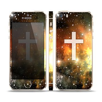 The Vector White Cross v2 over Yellow Nebula Skin Set for the Apple iPhone 5s