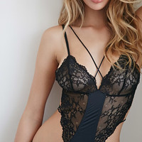 Strappy Lace-Paneled Bodysuit
