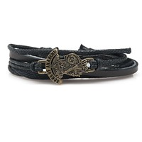 Sons of Anarchy Rope and Leather Adjustable Unisex Charm Bracelet