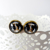 Chain and Anchor Nautical Retro Stud Style Earrings in antique brass setting, Glass Jewelry, 12mm Round