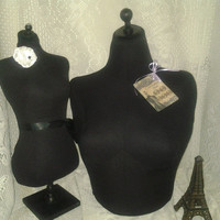 Black  Dress form, bust to the waist combo, jewelry display, sewing room, home decor, craft show display wholesale jewelry designer specials