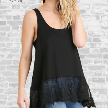 Lace Trim Extender Tank - Black - Small only