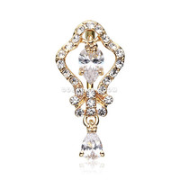Golden Hera Sparkle Reverse Belly Button Ring (Clear)