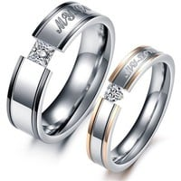 "MagicPieces Fashion Jewelry "" My Love "" AAA High Quality CZ Titanium Stainless Steel Couple Ring DP 0613"