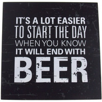 Prinz Start The Day End With Beer Plaque Home Decor Wall Hanging Saying Man Cave