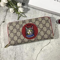 Gucci Stylish Ladies Leather Zipper Wallet Purse Red I