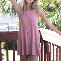 Beach Peach Sleeveless Swing Dress
