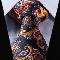 Navy Blue Paisley Tie with Orange, Blue, White, and Red Accents