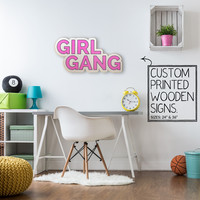 Girl Gang Pink Letters Custom Printed Wood Sign Unique Trendy Game Room