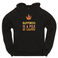 Happiness Is A Pile Of Leaves-Unisex Black Hoodie